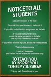 Notice to all Students Classroom Rules Poster Lærredstryk på blindramme
