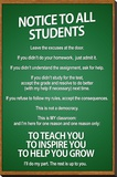 Notice to all Students Classroom Rules Poster - Şasili Gerilmiş Tuvale Reprodüksiyon