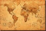 Verdenskort, på engelsk Opspændt lærredstryk