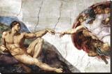 Michelangelo (Creation of Adam) Art Poster Print Lærredstryk på blindramme