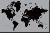 Wereldkaart - Actueel Kunst op gespannen canvas