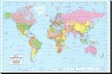 Politisk verdenskort Lærredstryk på blindramme