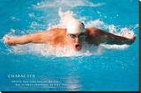 Michael Phelps Motivational Poster Lærredstryk på blindramme