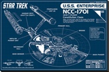 Star Trek Enterprise Blueprint Stretched Canvas Print