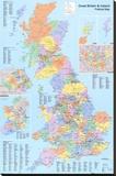 Mapa político del Reino Unido Reproducción de lámina sobre lienzo