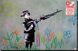 Banksy- Crayon Shooter Stretched Canvas Print by  Banksy