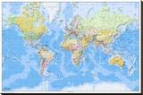 Dünya Haritası 2011 İngilizce - Şasili Gerilmiş Tuvale Reprodüksiyon