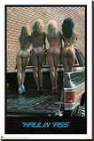Haulin Ass Girls in Pickup Truck Bed Sexy Photo Poster Print Stretched Canvas Print
