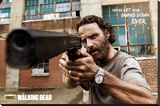 The Walking Dead Rick Gun Stretched Canvas Print