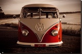 VW Red Combi Stretched Canvas Print
