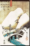 Snowy Landscape Stretched Canvas Print by Ando Hiroshige