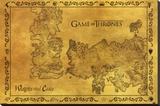 Game Of Thrones - Antique Map - Şasili Gerilmiş Tuvale Reprodüksiyon