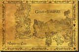 Game Of Thrones - Antique Map Stretched Canvas Print