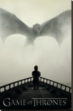 Game of Thrones - Lion & A Dragon Stretched Canvas Print