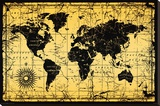 World Map-Old Style Stretched Canvas Print