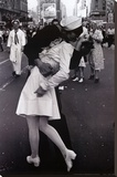 Kissing on VJ Day Stretched Canvas Print