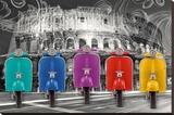 Vespas-Colosseum Stretched Canvas Print