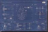 Star Wars - Rebel Alliance Fleet blueprint Lærredstryk på blindramme