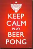 Keep Calm Beer Pong Stretched Canvas Print