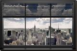 New York - Window Blinds - Şasili Gerilmiş Tuvale Reprodüksiyon