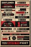 Fight Club-Rules Infographic - Şasili Gerilmiş Tuvale Reprodüksiyon