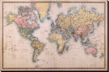 Map - Mercators Projection Stretched Canvas Print