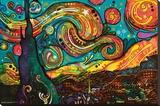 Starry Night By Dean Russo Lærredstryk på blindramme af Dean Russo