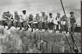 Stålarbetare på Manhattan Sträckt Canvastryck