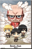 Attack on Titan - Chibi Group Stretched Canvas Print