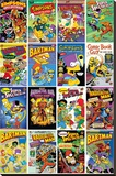 The Simpsons - Comic Covers Stretched Canvas Print