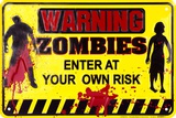 Warning Zombies Tin Sign