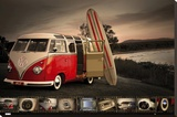 VW- Kombi Surfboard Stretched Canvas Print