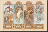 Alphonse Mucha - The Four Seasons - Şasili Gerilmiş Tuvale Reprodüksiyon