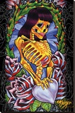 JDH- Skeleton Girl Stretched Canvas Print by James Danger Harvey