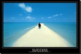 Success Walking on Beach Art Print Poster Stretched Canvas Print