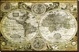 World Map-Historical - Şasili Gerilmiş Tuvale Reprodüksiyon