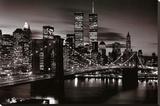 Brooklyn Bridge - B&W - Şasili Gerilmiş Tuvale Reprodüksiyon