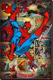 Marvel Comics-Spider Man-Retro Stretched Canvas Print