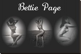 Bettie Page Triptych Stretched Canvas Print