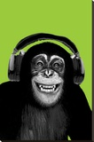 Chimpanzee-Headphones Stretched Canvas Print