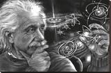 JDH- Einstein Quazar Bedruckte aufgespannte Leinwand von James Danger Harvey