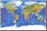 Satellite física  Mapa del Mundo Reproducción de lámina sobre lienzo