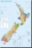 NEW ZEALAND MAP Lærredstryk på blindramme