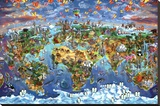 Maria Rabinky World Wonders map Stretched Canvas Print by Maria Rabinky