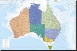 AUSTRALIA MAP - Şasili Gerilmiş Tuvale Reprodüksiyon