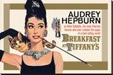 Audrey Hepburn, Tiffany'de Kahvaltı - Şasili Gerilmiş Tuvale Reprodüksiyon