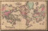Old World Map Colorful Art Print Poster Stretched Canvas Print