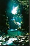 New Zealand Waterfall - Şasili Gerilmiş Tuvale Reprodüksiyon