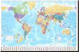 Dünya Haritası - Şasili Gerilmiş Tuvale Reprodüksiyon