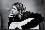 Kurt Cobain (Smoking) With Guitar Black & White Music Poster Reprodukce na plátně
